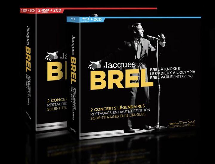 Le coffret en version Blu-ray+2CD ou 2 DVD+2CD (Fondation Jacques Brel / Universal)