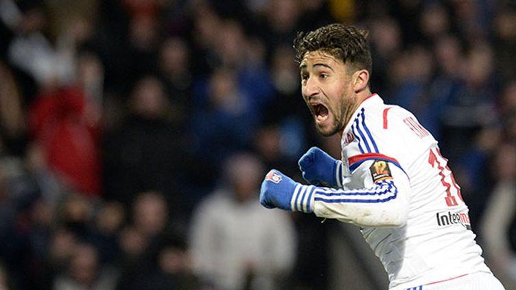 Nabil Fékir a inscrit le deuxième but de Lyon face à Montpellier dimanche 8 mars.  (JEAN-PHILIPPE KSIAZEK / AFP)