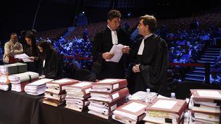 Le dossier Goodyeardevant le conseil desprud'hommes délocalisé au palais des congrès à Amiens, en octobre 2018. (FRANCOIS LO PRESTI / AFP)