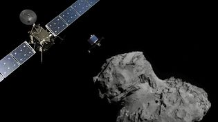 Visualisation de la sonde Rosetta, du robot Philae et de la comète 67P/Tchourioumov-Guérassimenko, le 12 novembre 2014. (ESA / SIPA)