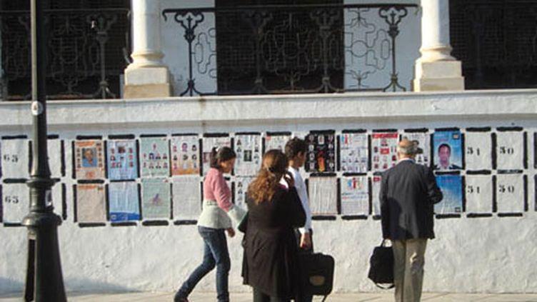 Citoyens s'attardant devant les affiches des multiples partis politiques place de la Kasbah à Tunis (Photo Laurent Ribadeau Dumas)