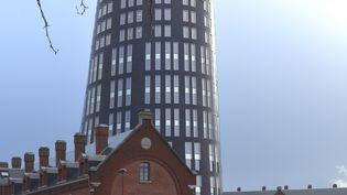 La Tour Bleue, siège de l'hôtel de police de Charleroi (Belgique), en janvier2015. (JMH2O / WIKIPEDIA)