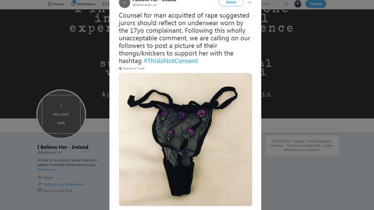 La page Twitter de l'association I Believe Her, qui a appelé ses followers sur Twitter, le 10 novembre 2018, à poster des photos de leurs sous-vêtements. (TWITTER / I BELIEVE HER - IRELAND)