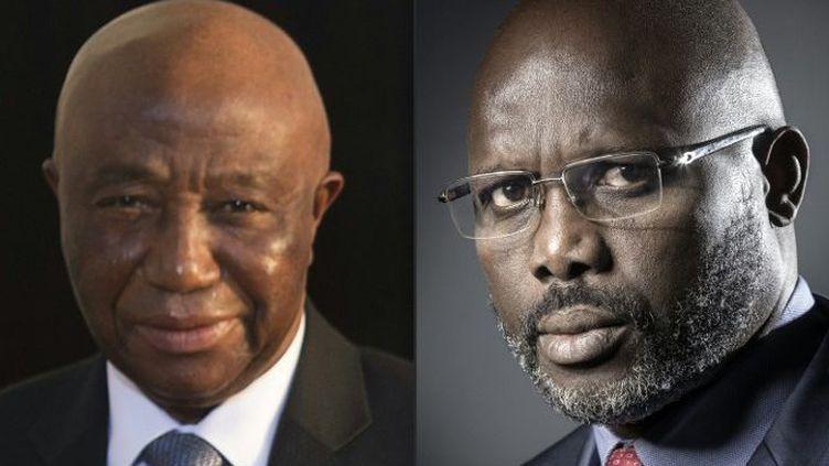 Joseph Boakai ( à droite) etGeorge Weah, les candidats au second tour de la présidentielle au Liberia qui se déroule le 26 septembre 2017. (JOEL SAGET, BRENDAN SMIALOWSKI / AFP)