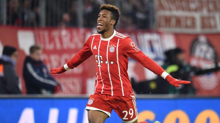 La joie du joueur du Bayern Kingsley Coman, auteur du 3e but du Bayern
