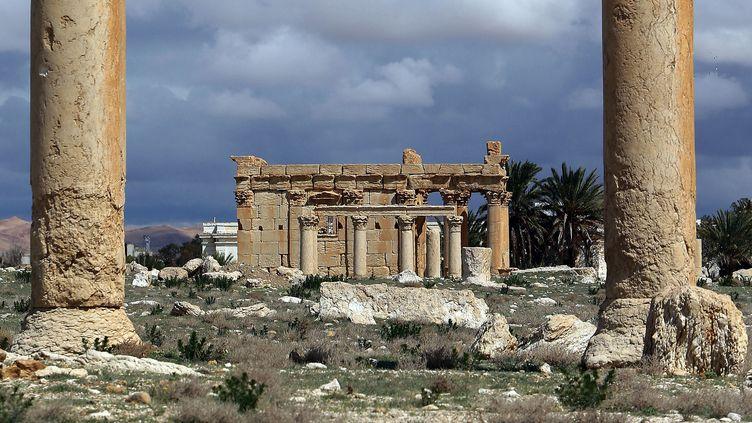 Le temple de Baalshamindans la cité antique dePalmyre, en Syrie,le 14 mars 2014. (JOSEPH EID / AFP)