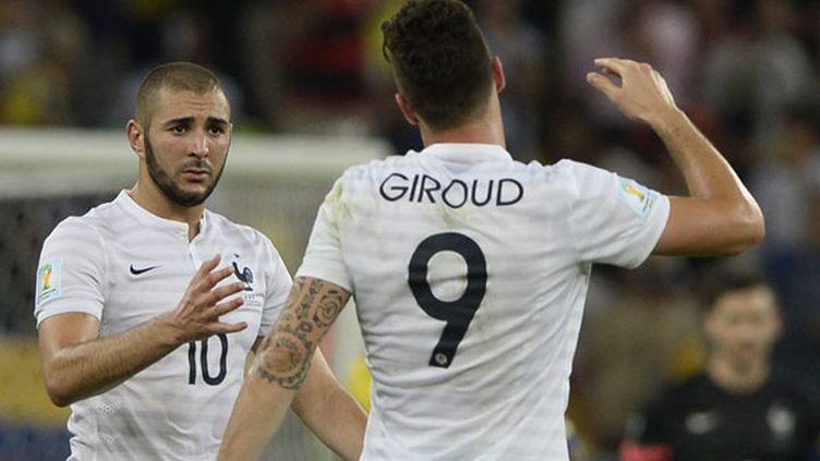Le duo d'attaquants tricolores Karim Benzema et Olivier Giroud n'ont pas trouvé la faille face à l'Equateur