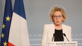 La ministre du Travail, Muriel Pénicaud, le 1er avril 2020 à l'Elysée. (LUDOVIC MARIN / AFP)
