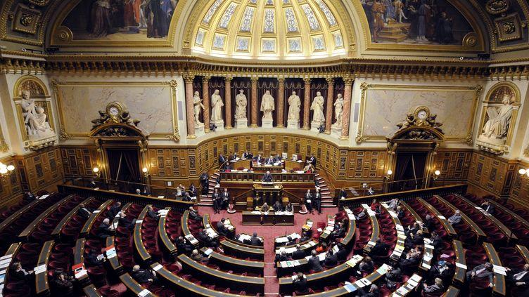 L'hémicycle du Sénat lors des débats précédant le vote de la loi pénalisant la négation des génocides, le 23 janvier 2012 à Paris. (ERIC FEFERBERG / AFP)