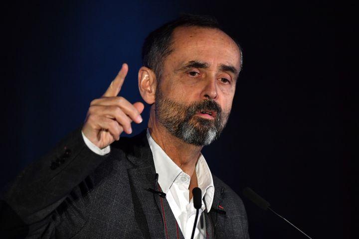 Robert Ménard lors d'un meeting de soutien au candidat du Rassemblement national à Sète (Hérault), le 22 janvier 2020. (PASCAL GUYOT / AFP)