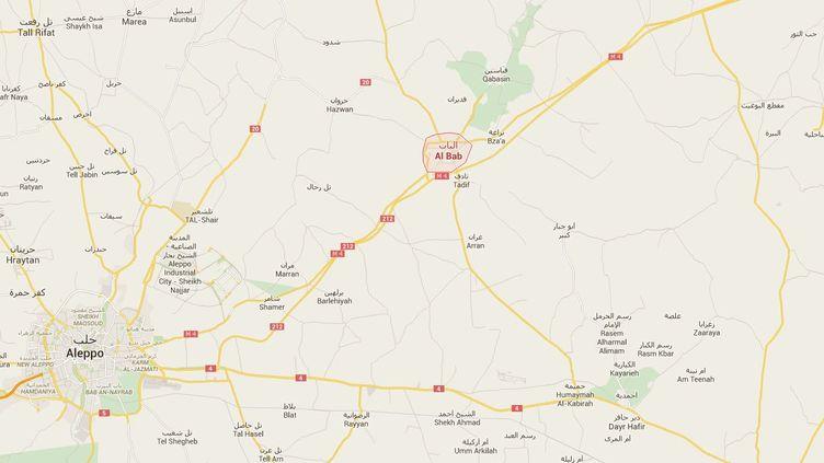 C'est à Al-Bab, près d'Alep (Syrie), que 95 détenus se sont évadés d'une prison de l'Etat islamique, samedi 7 mars 2015. (GOOGLEMAPS)