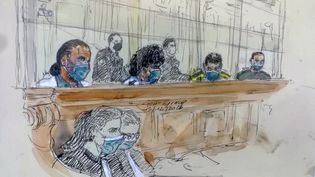 Un croquis réalisé le 15 décembre 2020, montrant le procès de l'attentat déjoué du Thalys en 2015. (BENOIT PEYRUCQ / AFP)
