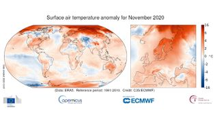 Anomalie de la température de l'air en surface pour novembre 2020 par rapport à la moyenne de novembre pour la période 1981-2010. Source des données: ERA5. (COPERNICUS CLIMATE CHANGE SERVICE/ECMWF)