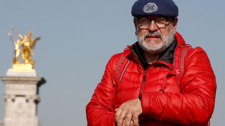 Patrick Maurin, élu local de Marmande (Lot-et-Garonne), à son arrivée à Paris après sa marche, le 22 février 2019. (FRANCOIS GUILLOT / AFP)