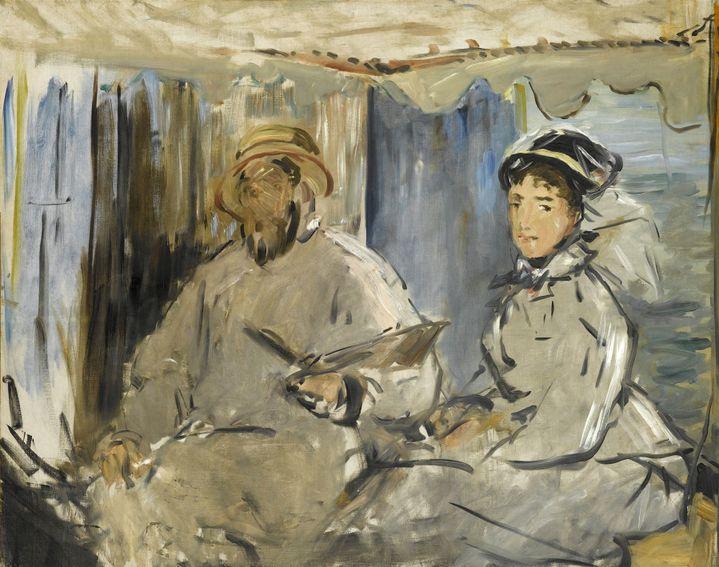 "Edouard Manet, ""Monet peignant dans son atelier"", 1874, Stuttgart, Staatsgalerie  (BPK, Berlin, Dist. RMN-Grand Palais / image Staatsgalerie Stuttgart)"