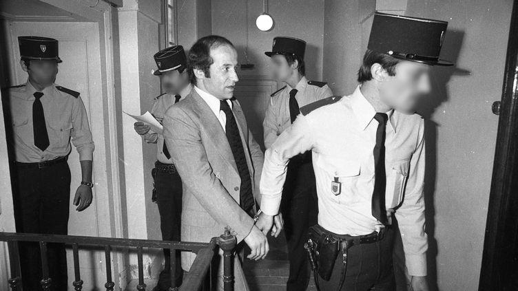 Jean-PierreGandeboeuf arrive au palais de justice de Lyon (Rhône), le 28 juin 1977. (MAXPPP)