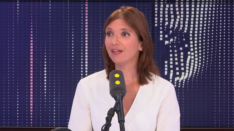 """Aurore Bergé, députée des Yvelines, porte-parole de La République en marche, invitée du """"8h30 politique"""", mercredi 21 août 2019. (FRANCEINFO / RADIOFRANCE)"""