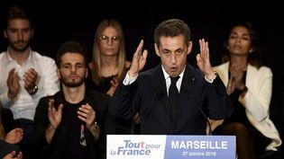 Nicolas Sarkozy lors d'un meeting à Marseille, le 27 octobre 2016. (ANNE-CHRISTINE POUJOULAT / AFP)
