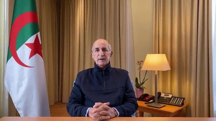 Le président algérien Abdelmadjid Tebboune lors d'une allocution télévisée, le 13 décembre 2020. (AFP)