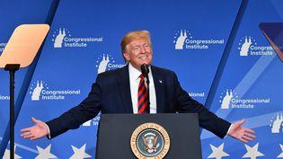 Donald Trump lors d'un discours devant les Républicains, à Baltimore, le 12 septembre 2019. (NICHOLAS KAMM / AFP)