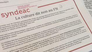 Encart du Sydeac publié par Libération et Le Parisien  (Laurence Houot / Culturebox)