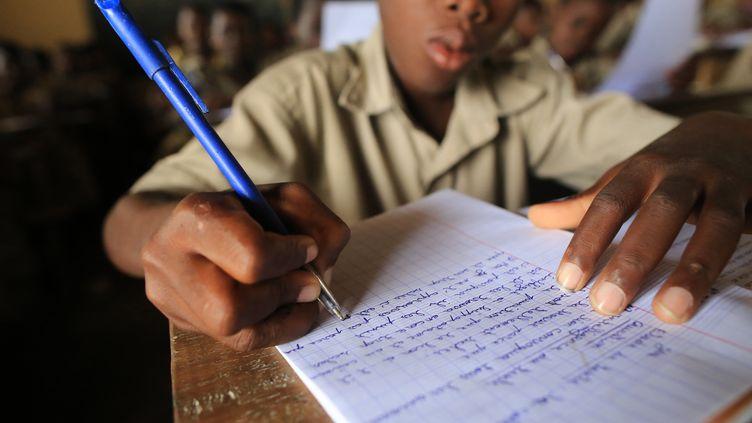 Un élève lors d'un cours de grammaire dans l'école primaire Adjalle, au Togo (2015). (GODONG / BSIP)
