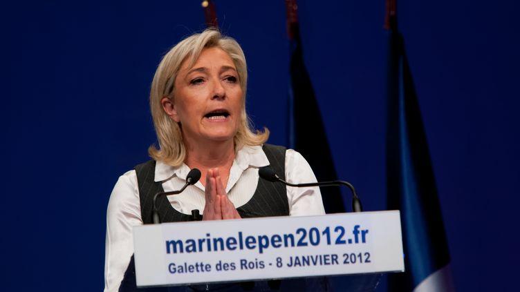 La candidate du Front national, Marine Le Pen, lors de la galette des rois organisée par son parti, à Saint-Denis (Seine-Saint-Denis), le 8 janvier 2012. (CITIZENSIDE.COM)