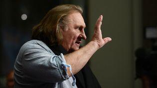 """Gérard Depardieu lors de la présentation d'""""Astérix et Obélix : au service de Sa Majesté"""", le 1er octobre 2012, à Berlin (Allemagne). (JOHANNES EISELE / AFP)"""