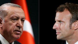 Recep Tayyip Erdogan, en septembre 2020 et Emmanuel Macron, en juin 2020. (ADEM ALTAN / POOL)