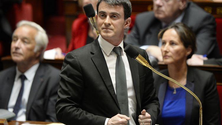 Manuel Valls à l'Assemblée nationale, le 15 avril 2014. (LIONEL BONAVENTURE / AFP)