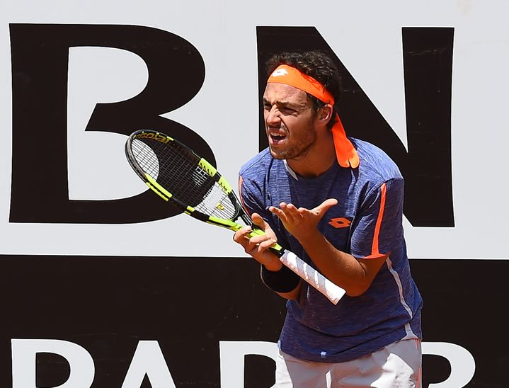 Marco Cecchinato, le 9 mai 2016, au tournoi de Rome (Italie), face à Milos Raonic. (SILVIA LORE / NURPHOTO)