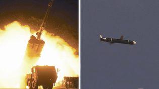 Des photosnon datées communiquées par l'agence officielle nord-coréenne le 13 novembre 2021 et présentées comme celles du missile testé. (KCNA VIA KNS / AFP)