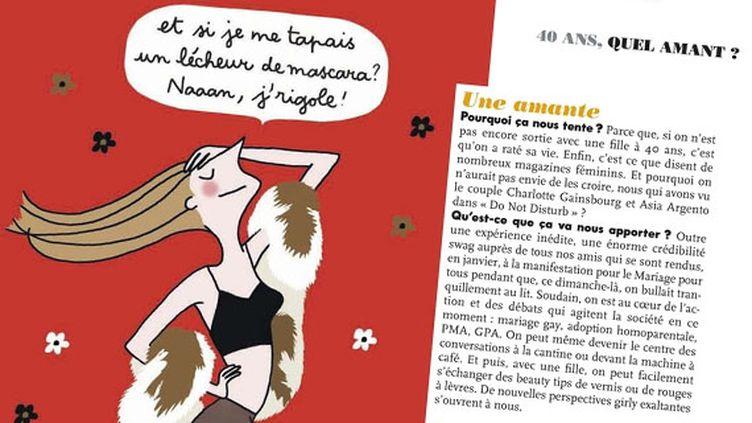 """Dans son dossier """"40 ans, quel amant?"""", le magazine féminin """"Elle"""" du 15 mars 2013 vante les mérites de l'homosexualité entre femmes. (FRANCETV INFO)"""