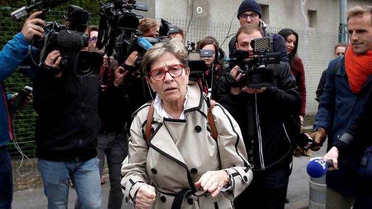 Viviane Lambert, la mère de Vincent Lambert, à son arrivée au CHU de Reims, le 20 mai 2019, jour de l'arrêt des traitements sur son fils. (BENOIT TESSIER / REUTERS)