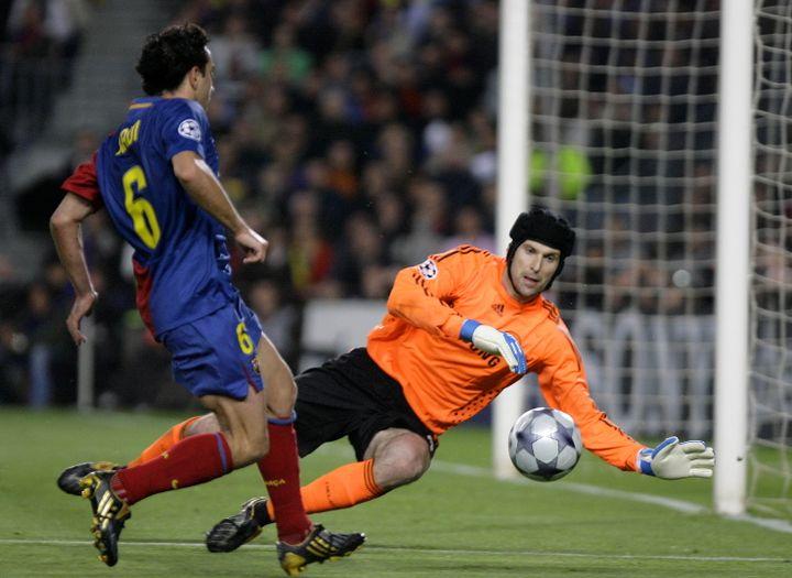 Le gardien de Chelsea Petr Cech lors d'une demi-finale de Ligue des champions face à Barcelone, le 28 avril 2009. (JOSEP LAGO / AFP)