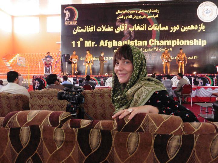 Mélanie Kominek, correspondante de franceinfo à Kaboul, était dans le public, essentiellement composé d'hommes (Mélanie Kominek / Radio France)