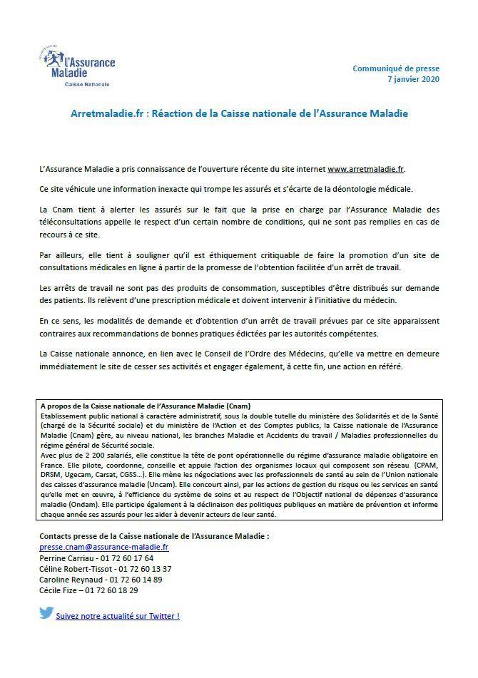 Communiqué de la Caisse Nationale d'Assurance Maladie du 7 janvier 2020. (CNAM)