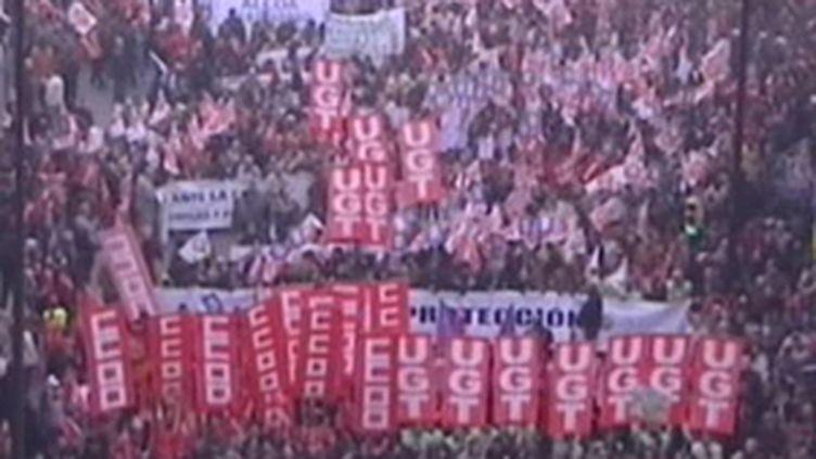 Manifestation en Espagne pour le pouvoir d'achat (janvier 2009) (© France 2)