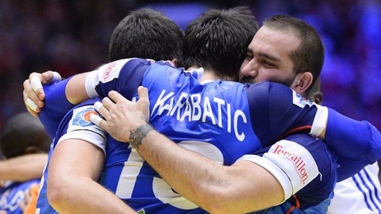 La joie des handballeurs tricolores (JONATHAN NACKSTRAND / AFP)