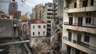 Beyrouth, la capitale du Liban, le 7 août, trois jours après la double explosion qui a dévasté une partie de la ville. (PATRICK BAZ / AFP)