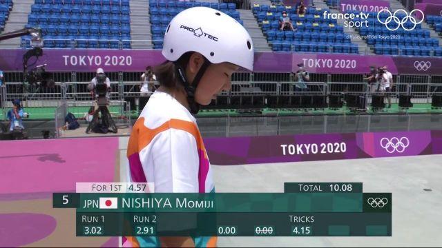 La Japonaise Momiji Nishiya devient la première championne olympique de skateboard de l'histoire en remportant l'épreuve de street. La Brésilienne Rayssa Leal est argentée à 13 ans seulement.