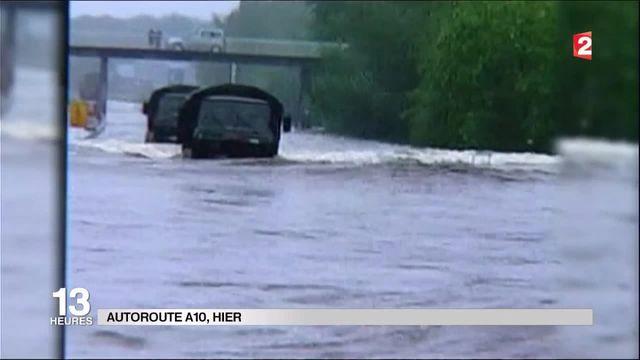Inondations : l'autoroute A 10 transformée en canal