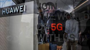 Stand Huawei au salon du web de Lisbonne(Portugal), le 6 novembre 2019. (PATRICIA DE MELO MOREIRA / AFP )
