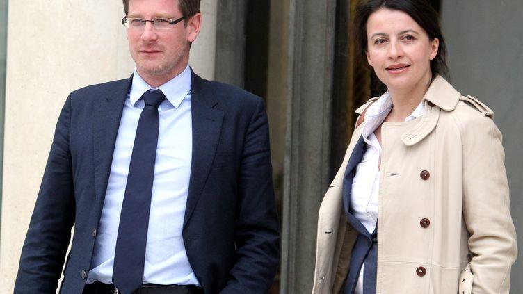 Les ministres écologistes en charge du Développement, Pascal Canfin, et du Logement, Cécile Duflot, le 17 mai 2012 à l'Elysée. ( MAXPPP)
