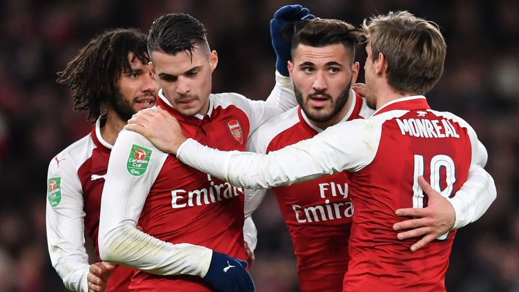 La joie des joueurs d'Arsenal (BEN STANSALL / AFP)