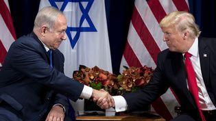 Benyamin Nétanyahou et Donald Trump échangent une poignée de mains, le 18 septembre 2017, à New York. (BRENDAN SMIALOWSKI / AFP)