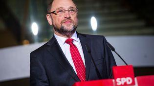 L'ex-président du Parlement européen,Martin Schulz, le 24 janvier 2017 à Berlin (Allemagne) lors d'une conférence de presse au siège de son parti, le SPD. (GREGOR FISCHER / DPA / AFP)