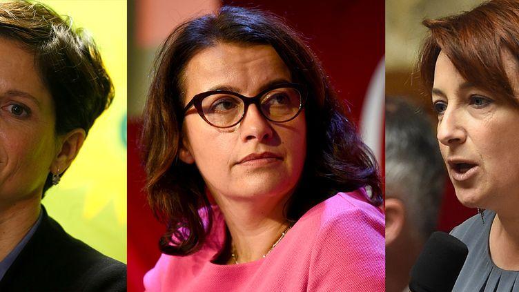 De gauche à droite : Sandrine Rousseau, Cécile Duflot etIsabelle Attard. (AFP)