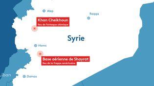 Carte des lieux de la frappe américaine en Syrie, jeudi 7 avril 2017, et de l'attaque chimique imputée au régime syrien, le 4avril. (FRANCEINFO)