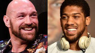 Tyson Fury et Anthony Joshua ont enfin trouvé un accord et s'affronteront à deux reprises d'ici la fin de l'année 2021.  (RINGO CHIU,FAYEZ NURELDINE / AFP)